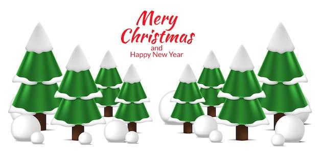 メリークリスマスと新年あけましておめでとうございますの冬の松モミのクリスマスツリーの風景ビュー