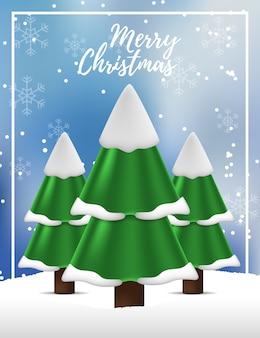 メリークリスマスと新年あけましておめでとうございますの松モミのクリスマスツリーの風景ビュー