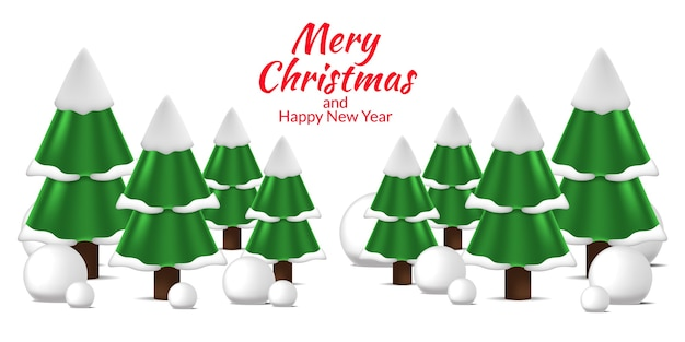 Pine fir christmas tree landscape view at winter for merry christmas and happy new year