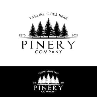 Pine or fir forest logo evergreen pinery logo