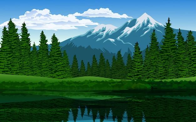 山と湖の松林