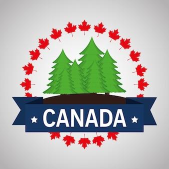 松林の畑カナダのフレームベクトルイラストデザイン