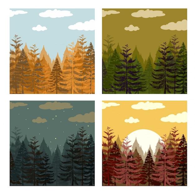 네 가지 색상의 그림에서 소나무 숲