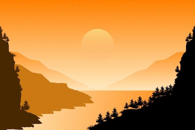 Ландшафт соснового леса в заходе солнца вечера с иллюстрацией неба горы