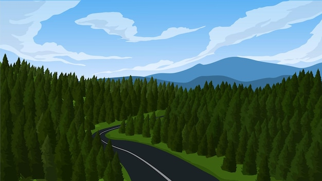 Пейзаж соснового леса с дорогой и горой