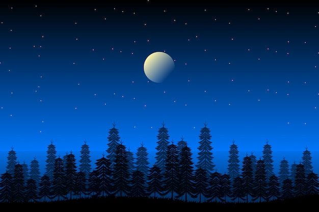 Pine forest landscape with starry night sky illustration