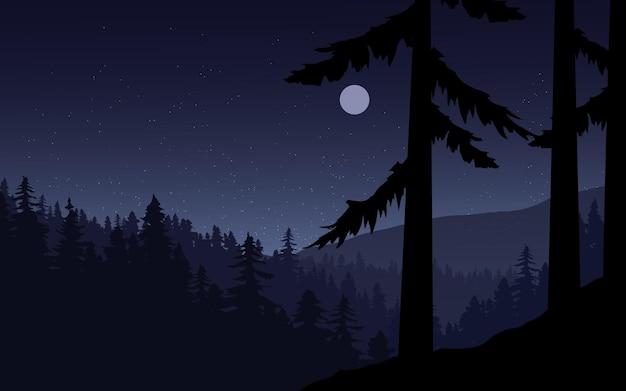 Сосновый лес ночной пейзаж с луной