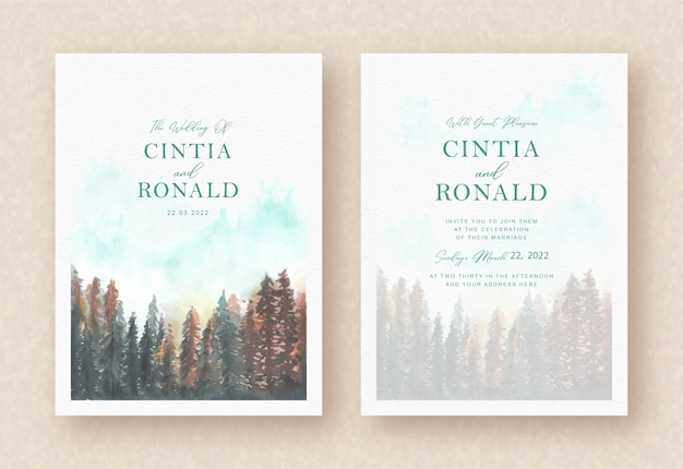 Pine forest painting background on invitation card