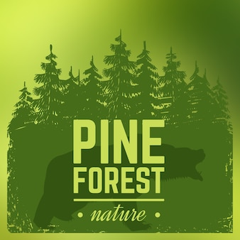 Pine forest silhouette with wild bear. nature illustration