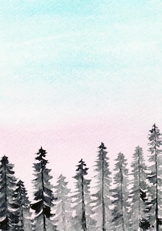 Pine forest with cotton candy sky watercolor background