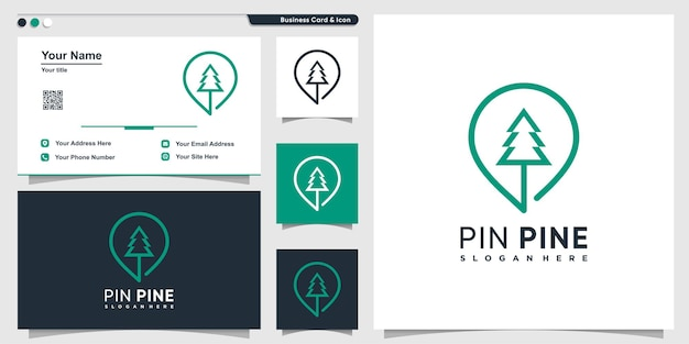 Pine logo with pin location style and business card design template premium vector