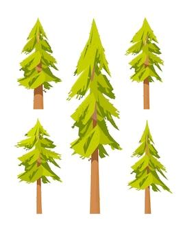 Сосновый еловый лес. набор иллюстраций природы елей.
