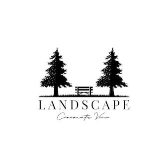 松の木と木製のベンチ映画のような風景ビューロゴデザインベクトル