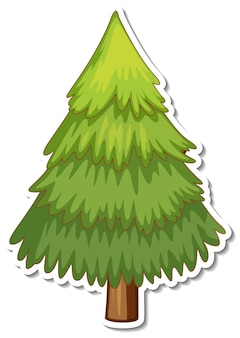A pine tree cartoon sticker