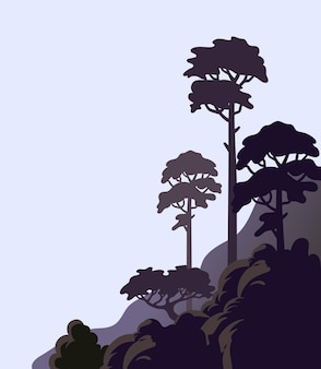 Pine tree on a cliff rocky shore with tall trees