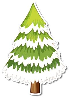 Adesivo cartone animato albero di pino coperto di neve