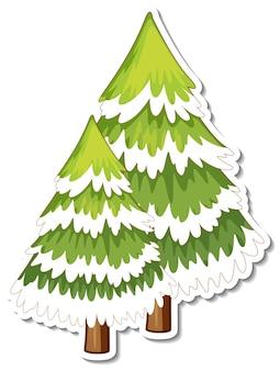 Pine tree covered with snow cartoon sticker