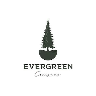 Pine tree evergreen timberland logo design vector