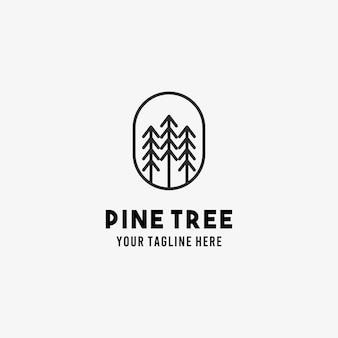 Pine tree flat style design symbol logo illustration
