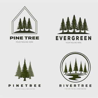 松の木の森セットロゴベクトルイラストデザイン
