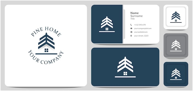 소나무 집 로고 디자인 집 숲 나무