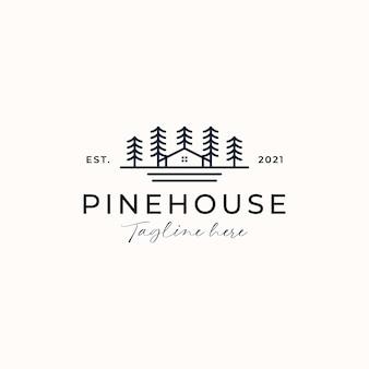 Шаблон логотипа дом на дереве сосны