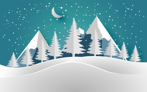 冬と雪山の松の木イラスト。デザインの紙アートと工芸品