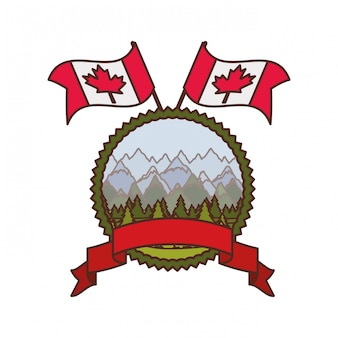 Pine tree label and canada symbol
