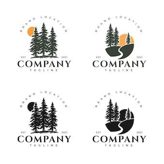 Набор логотипов сосны