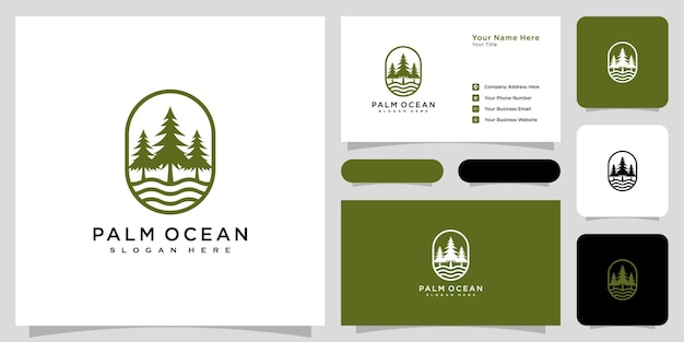 Pine tree ocean icon illustration isolated vector sign symbol
