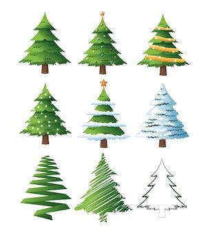 Pine tree plant icon set