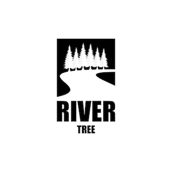 Pine tree and river or creek evergreen timberland logo design vector