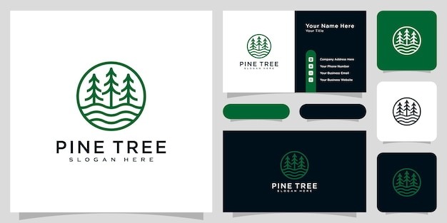 Pine tree and river logo vector and business card