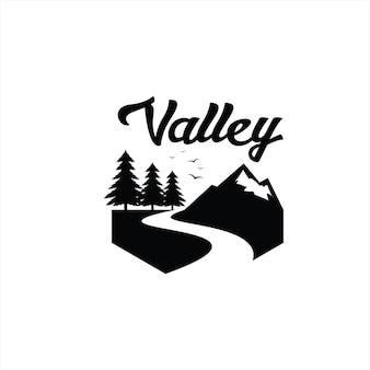 Сосна река логотип винтаж черный