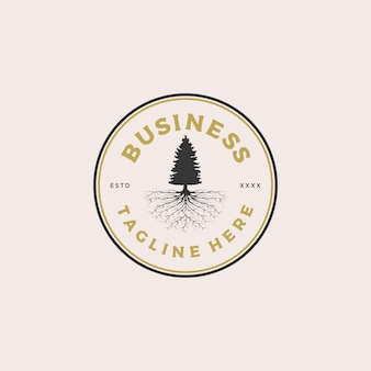 Pine tree root badge logo design illustration