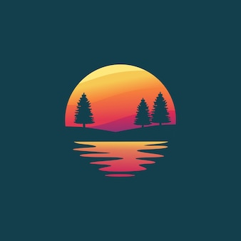 Pine tree silhouette logo design