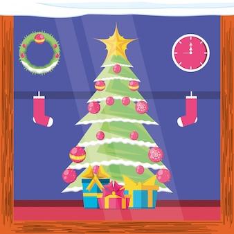 아이콘 메리 크리스마스와 소나무