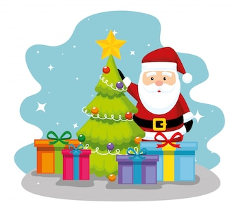Pine tree with santa claus and gifts