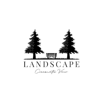 Pine tree and wooden bench cinematic landscape view logo design vector