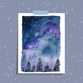 Pine trees and starry sky watercolor