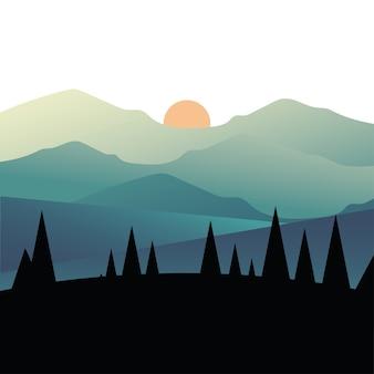 松の木と山の風景イラスト上の太陽