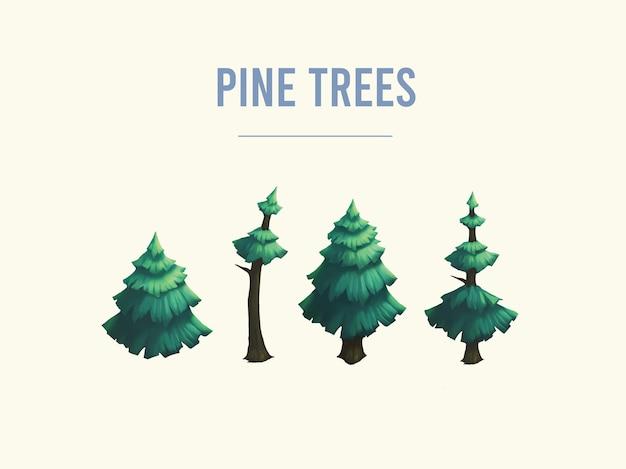 ゲーム用の松の木の資産