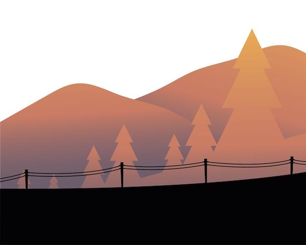 フェンスのイラストと山の風景の前に松の木