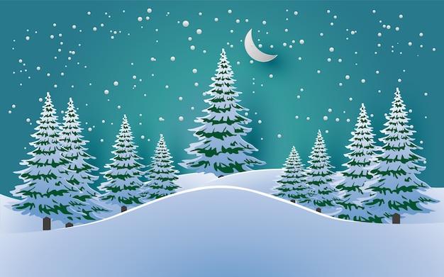 冬は松の木、落ちる雪。デザインの紙アートと工芸品