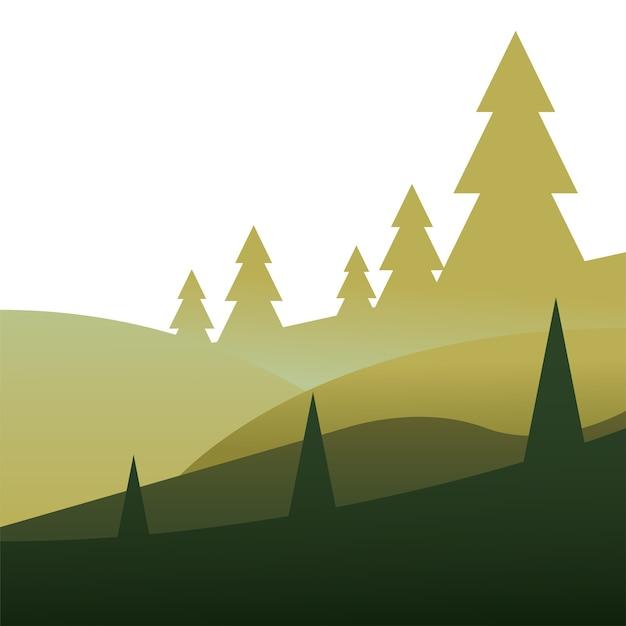山の風景イラストの松の木