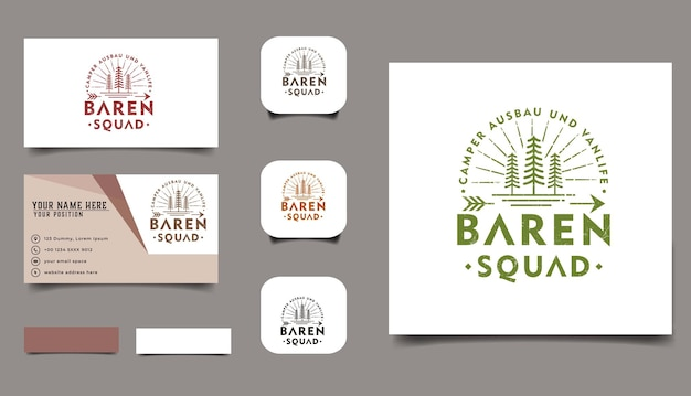 松の木屋外ヴィンテージロゴとbussinesカードtemplete