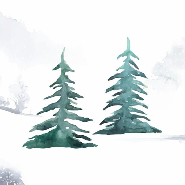 Pine trees painted by watercolor