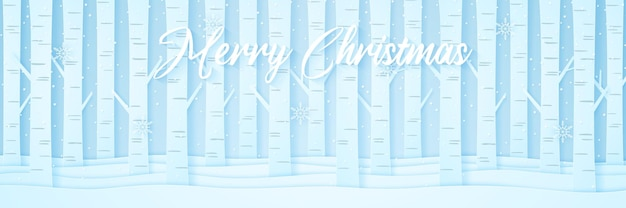 Pine trees on snow in winter landscape with snow falling and snowflakes, lettering, paper art style