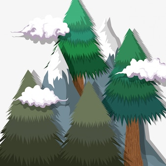 Pine trees with ice mountains and clouds landscape