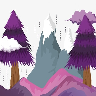 Pine trees with ice mountains and clouds
